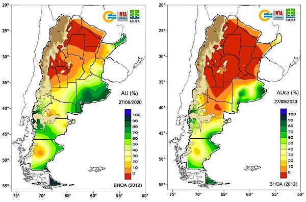 A la izquierda, agua útil en el perfil del suelo al 27 de agosto. A la derecha, agua útil en la capa arable al 27 de agosto