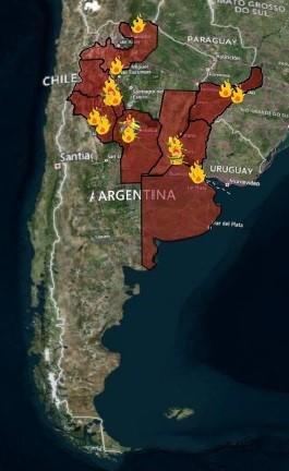 Incendios que afectan a nuestro país al 27 de agosto de 2020. Fuente: SINAME