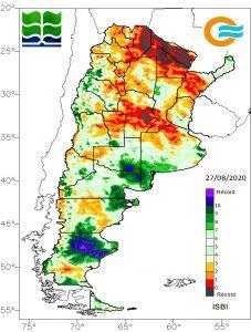 El índice de sequía ISBI permite calcular el contenido de agua en el perfil de suelo y compararlo con la serie histórica de ese valor en los últimos 20 años