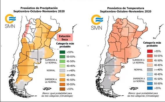 Pronósticos de precipitaciones (izq.) y temperaturas medias (der.) para el trimestre septiembre-octubre-noviembre