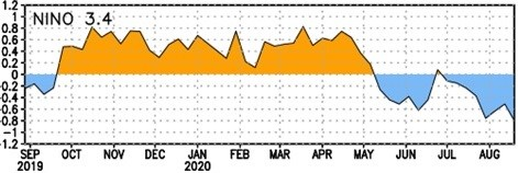 Detalle de la evolución de la temperatura de la superficie del mar (SST) en la región El Niño-3.4