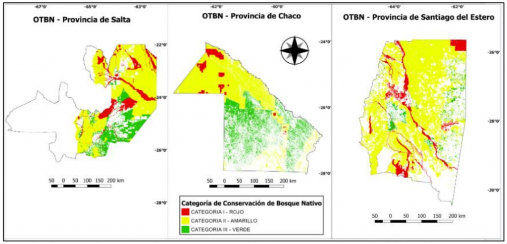 La Ley de Bosques establece que las categorías de conservación de los ecosistemas boscosos deben ser coherentes entre distintas jurisdicciones. Sin embargo, esto no sucede y existen casos en que los bosques tienen distinto 'color' a cada lado de las fronteras interprovinciales