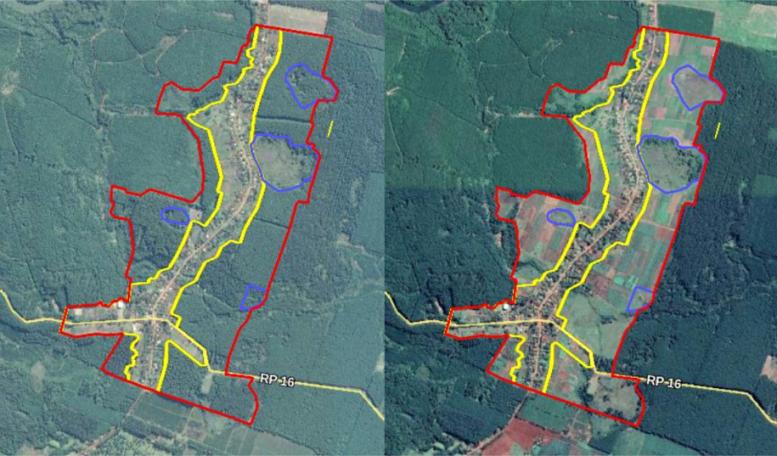 Las forestaciones se transformaron en agroecosistemas diversos y se conservaron zonas donde antes se implantaban pinos y eucaliptos. Imagen: año 2016 (izq.) y 2019 (der.). En amarillo: área con casas campesinas; en rojo: tierras expropiadas; en azul: zonas de bañados y vertientes