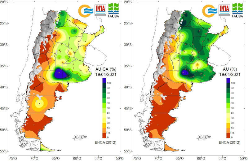 En el panel de la izquierda se muestra el agua útil en la capa arable al 19 de abril. En el panel de la derecha se presenta el agua útil en el perfil del suelo al 19 de abril