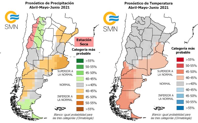 Pronósticos de precipitación (a la izquierda) y temperatura (a la derecha) para el trimestre abril-mayo-junio