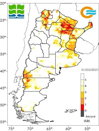 Condiciones de sequía al 31 de marzo, de acuerdo con el Índice de Sequía BHOA IMERGE, que calcula el contenido de agua instantáneo en el perfil de suelo para un punto determinado, y lo compara con los datos históricos de los últimos 20 años para ese mismo punto