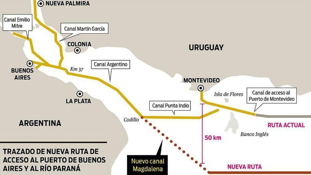 Traza de los canales de acceso al Puerto de Buenos Aires y al río Paraná a través del Río de la Plata