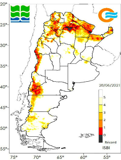 Condiciones de sequía al 28/06 según el Índice de Sequía BHOA IMERG, que calcula el contenido de agua instantáneo en el perfil de suelo para un punto determinado y lo compara con los datos históricos de los últimos 20 años para ese mismo punto