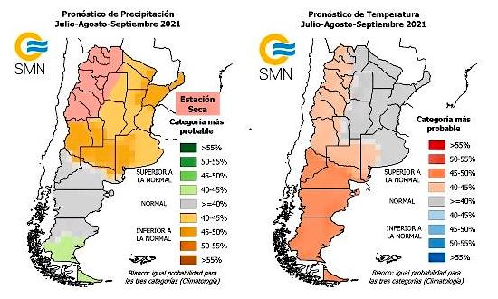 Pronósticos de precipitaciones medias y temperaturas medias del aire para el trimestre julio-agosto-septiembre
