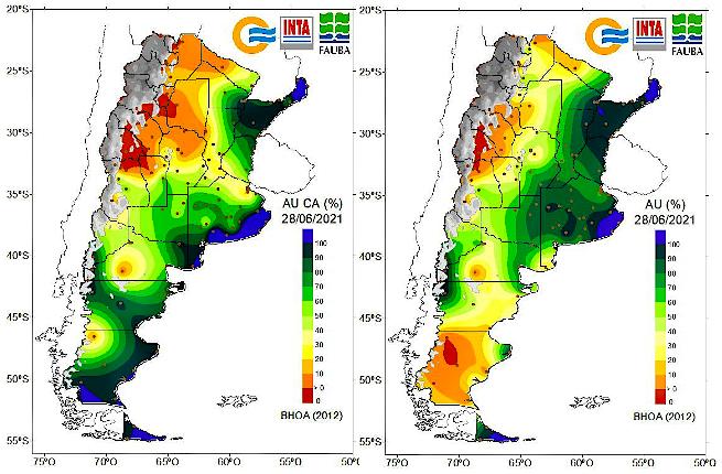 En el panel de la izquierda se muestra el agua útil en la capa arable (AU CA%, primeros cm del suelo) al 28 de junio. En el panel de la derecha se presenta el agua útil en el perfil del suelo (AU%, hasta 1 m de profundidad) para esa misma fecha