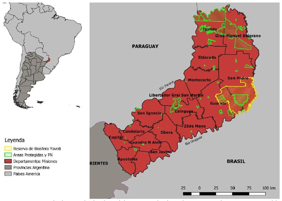 Mapa de la provincia de Misiones, con límites departamentales, áreas protegidas (Reservas privadas y Parques Nacionales, Provinciales y Municipales) y la Reserva de Biósfera Yavotí
