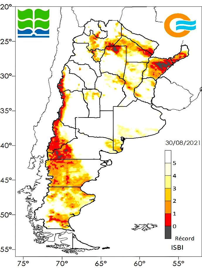 Condiciones de sequía al 30/08 según el Índice de Sequía BHOA IMERG, que calcula el contenido de agua instantáneo en el perfil de suelo para un punto determinado y lo compara con los datos históricos de los últimos 20 años para ese mismo punto